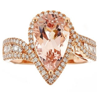 Anika and August 14k Rose Gold Pear-cut Morganite 5/8ct TDW Diamond Ring (G-H, I1-I2)