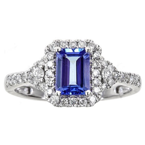 tanzanite white emerald gold p ring size cluster cut diamond o asp