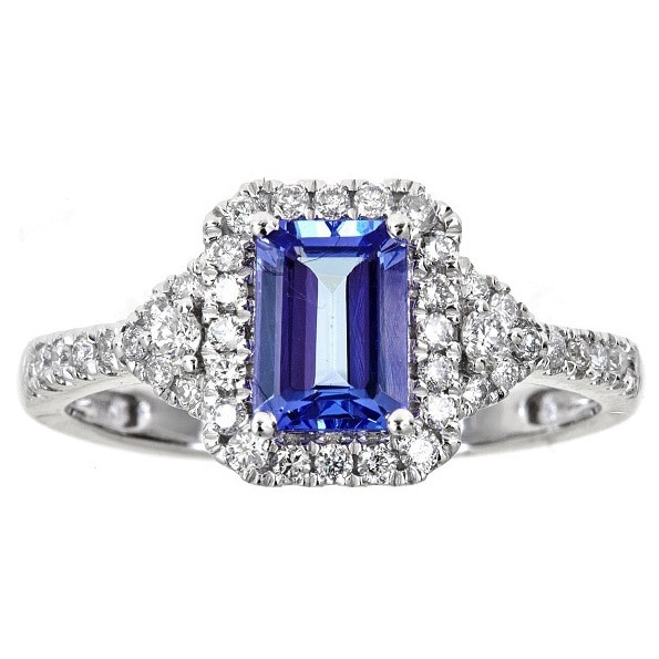 ring unique halo tanzanite cut gems diamond aaaa safsadf petra emerald