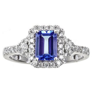 Anika and August 14k White Gold Emerald-cut Tanzanite 2/5ct TDW Diamond Ring (G-H, I1-I2)