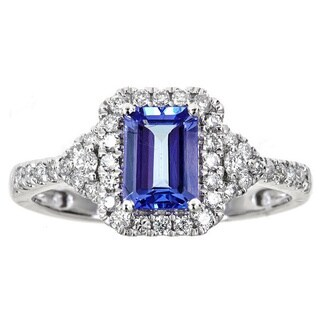 Anika and August 14k White Gold Emerald-cut Tanzanite 2/5ct TDW Diamond Ring (G-H, I1-I2) (2 options available)