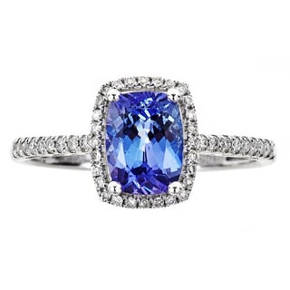 Anika and August 14k White Gold Cushion-cut Tanzanite 1/5ct TDW Diamond Ring (G-H, I1-I2) (Size 7)