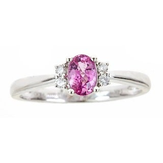 Anika and August 14k White Gold Oval-cut Pink Sapphire Diamond Accent Ring (G-H, I1-I2) (Size 7)