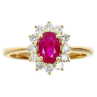 18k Yellow Gold Mozambique Ruby and 2/5ct TDW Diamond Bridal Ring by Anika and August