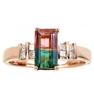 Anika and August 14k Rose Gold Emerald-cut Two-tone Tourmaline 1/6ct TDW Diamond Ring (G-H, I1-I2) (Size 7)