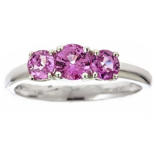 Anika and August 14k White Gold Round-cut Pink Sapphire Ring (Size 7)