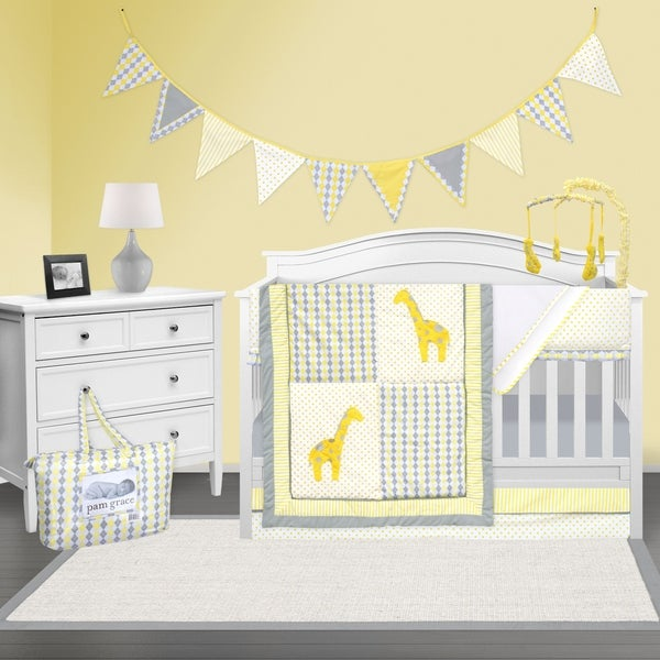 Shop Pam Grace Creations Yellow And Gray Giraffe Crib Baby Bedding