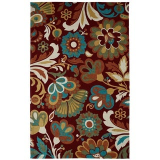 Juniper Floral Red/ Teal Multi Area Rug (3' x 5')