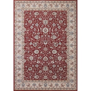 Cappella Traditional Floral Red Area Rug (3'11 x 5'3)