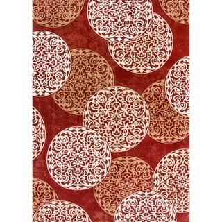 Cappella Floral Circles Red Area Rug (7'10 x 10'10)