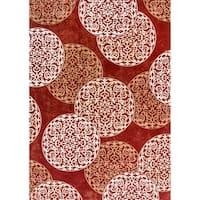 Cappella Floral Circles Red Area Rug - 7'10 x 10'10