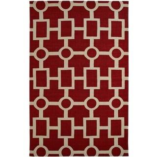 Juniper Geometric Red Area Rug (5' x 8')