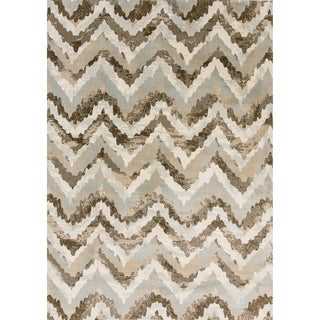Cappella Faded Chevron Ivory/ Beige Rug (7'10 x 10'10)