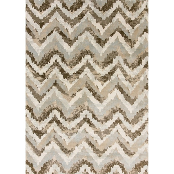 Shop Cappella Faded Chevron Ivory Beige Area Rug 9 2 X