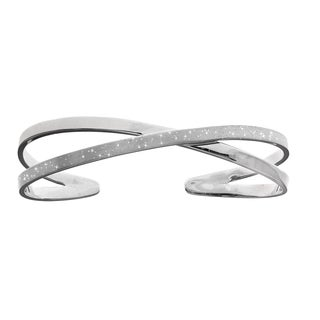 Sterling Silver Double Crossed Bangle with Rhodium Finish