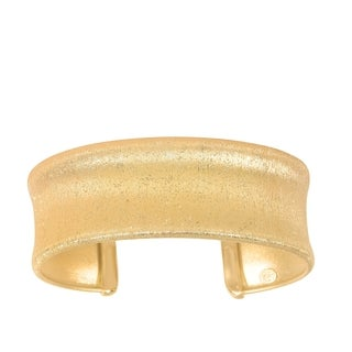 Sterling Silver with Scratched and Textured Yellow Finish Concave Bangle