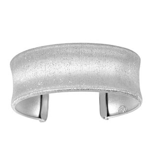 Sterling Silver with Scratched and Textured Rhodium Finish Concave Bangle