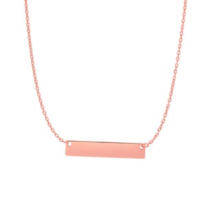 14k Rose Gold 17-inch Bar Necklace