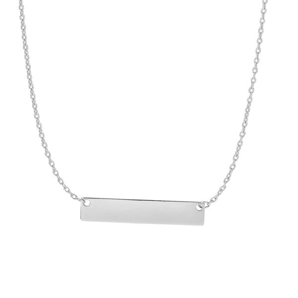 14k White Gold 17-inch Bar Necklace