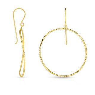 14k Yellow Gold Circle Hoop Earrings