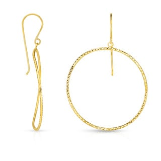 14k Yellow Gold Circle Hoop Earrings