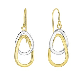 14k Yellow and White Gold Tear Drop Earrings