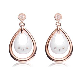 Alberto Moore Rose-plated Silver and White Ceramic Cubic Zirconia Teardrop Earrings