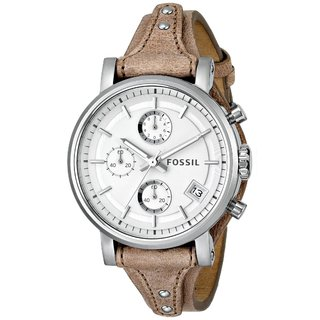 Fossil Women's ES3625 Original Boyfriend Round Beige Leather Strap Watch
