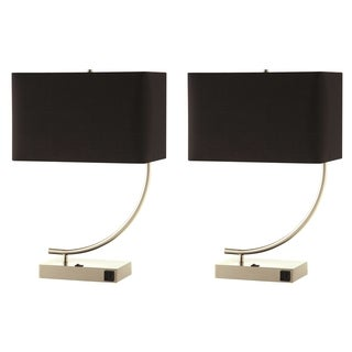 Nava Contemporary Stylish Table Lamp with Black Shade (Set of 2)