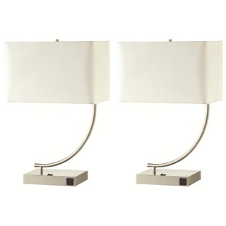 Nava Contemporary Table Lamp with White Shade (Set of 2)