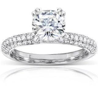 Annello by Kobelli 14k White Gold 2 1/4ct TGW Moissanite and Micro Pave Diamond Engagement Ring