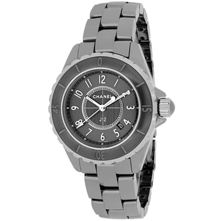 Chanel Women's H2978 J12 Quartz Round Grey Titanium Ceramic Bracelet Watch