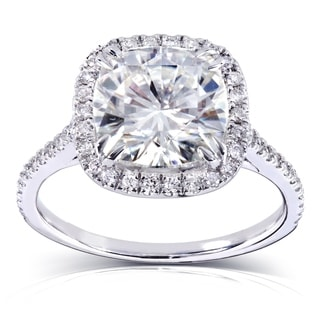 Annello 14k White Gold 3ct TGW Forever Brilliant Moissanite and Diamond Cushion Halo Engagement Ring