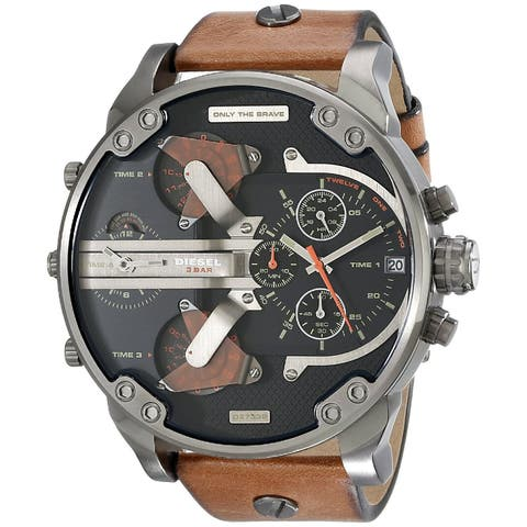 Diesel Men's DZ7332 Mr. Daddy 2.0 Round Brown Leather Strap Watch