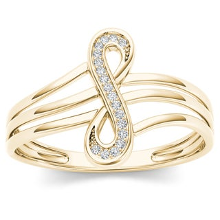 De Couer 10k Yellow Gold 1/20ct TDW Diamond Infinity Loop Ring (H-I, I2)