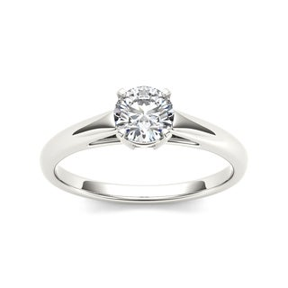 De Couer 14k White Gold 7/8ct TDW Diamond Classic Engagement Ring - White H-I