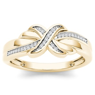"De Couer 10k Yellow Gold 1/10ct TDW Diamond ""X"" Framed Ring (H-I, I2)"