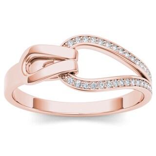 De Couer 10k Rose Gold 1/10ct TDW Diamond Fashion Ring - Pink