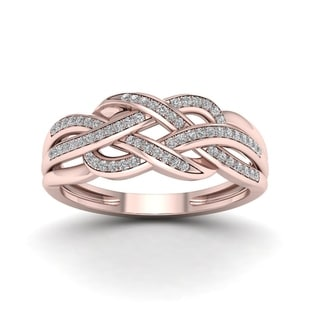 De Couer 10k Rose Gold 1/5ct TDW Diamond Swirling Ring (H-I, I2)