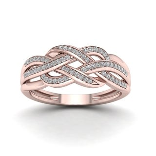 De Couer 10k Rose Gold 1/5ct TDW Diamond Swirling Ring - Pink