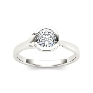 De Couer 14k White Gold 3/4ct TDW Diamond Exquisite Engagement Ring
