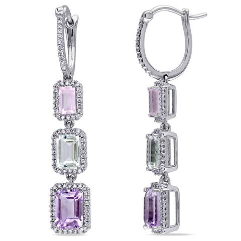 Miadora 14k White Gold Multi-gemstone and 1/2ct TDW Diamond Earrings (G-H, SI1-SI2) - Purple
