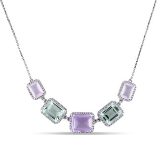 Miadora 14k White Gold Multi-Gemstone and 1/2ct TDW Diamond Necklace (G-H, SI1-SI2)
