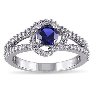 Miadora Signature Collection 14k White Gold Created Blue Sapphire and 1/3ct TDW Diamond Ring (G-H, I1-I2)