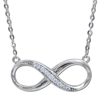 14k White Gold Cubic Zirconia Infinity Symbol Floating Charm Necklace