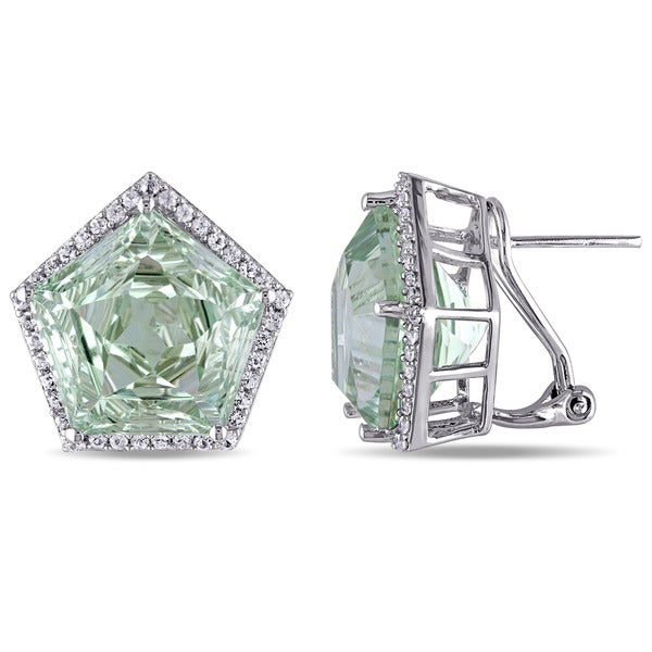 Miadora Sterling Silver Green Amethyst and White Topaz Earrings. Opens flyout.