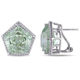 Miadora Sterling Silver Green Amethyst and White Topaz Earrings