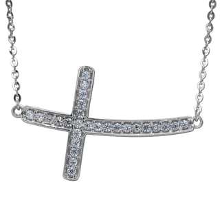 14k White Gold Cubic Zirconia Sideways Curved Floating Cross Necklace
