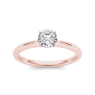 De Couer 14k Rose Gold 3/4ct TDW Diamond Classic Engagement Ring