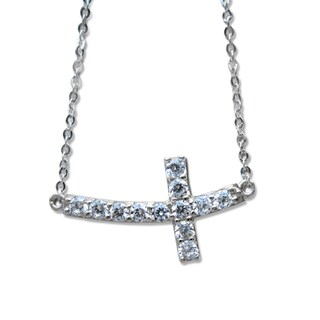14k White Gold Cubic Zirconia Curved Sideways Cross Necklace